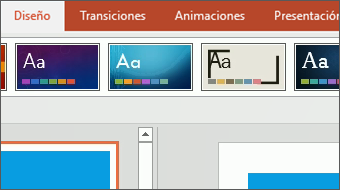 Inicio del aprendizaje Cambiar el aspecto de PowerPoint 2016