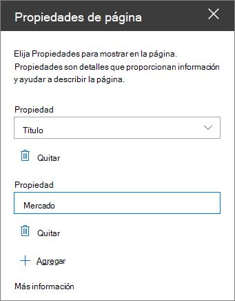 Panel de elemento Web propiedades de página
