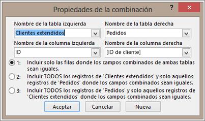 Captura de pantalla de Propiedades de la combinación resaltando el nombre de tabla de la izquierda