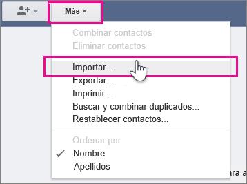 Google Gmail - Haga clic en Más, importar contactos