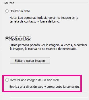 Captura de pantalla de la sección de la ventana de opciones de Mi foto de Lync con la selección de imagen de un sitio web resaltada