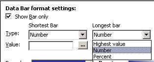 configuración de formato para barras de datos