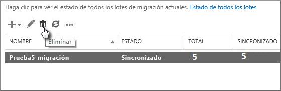Eliminar un lote de migración