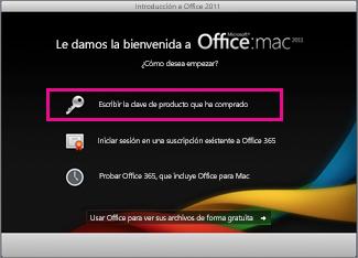 Pantalla de activación de Office para Mac