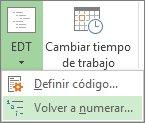 Imagen de la pestaña Proyecto, botón EDT, comando Rehacer numeración en el menú desplegable.