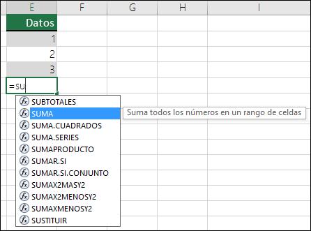 Fórmula de Excel Autocompletar