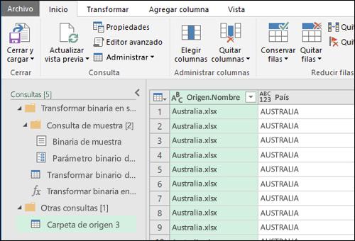 Combine el cuadro de diálogo de vista previa de archivos binarios. Presione Cerrar y cargar para aceptar los resultados e importarlos a Excel.