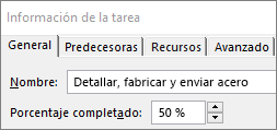 Captura de pantalla del cuadro de diálogo Detalles de la tarea de una tarea que muestra el porcentaje completado