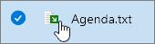Nombre de archivo y el icono de flecha verde superpuesto.
