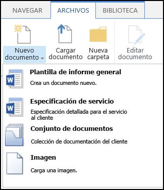 Menú Nuevo documento con tipos de contenido personalizados en un sitio de SharePoint