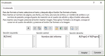 Cuadro de diálogo Personalizar encabezado de Configuración de página