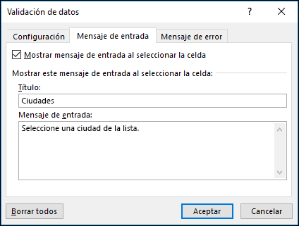 Opción Mensaje de entrada de validación de datos