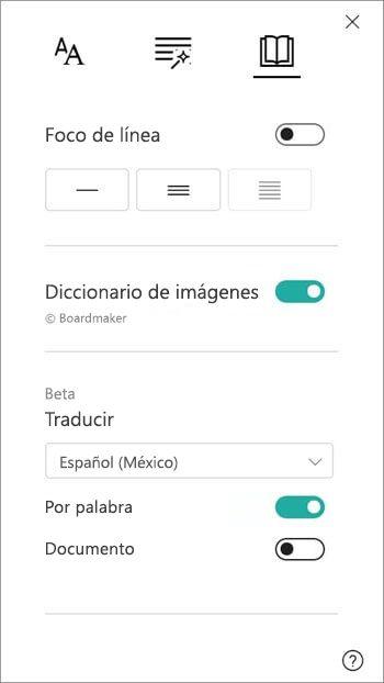 Las opciones de traducción se encuentran debajo de la sección Diccionario de imágenes.