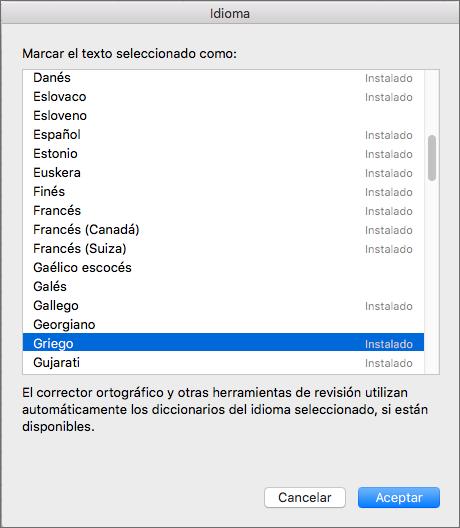 Herramientas de corrección de Office para Mac