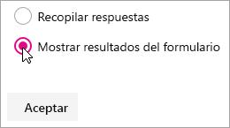 Selección de elementos web Microsoft Forms para mostrar los resultados de formularios.