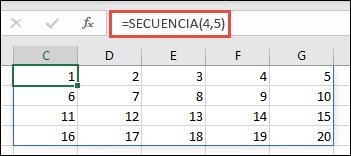 Ejemplo de la función SEQUENCE con una matriz de 5 x 4