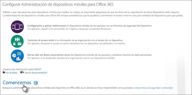 Configurar la administración de dispositivos móviles en Office 365