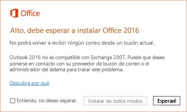 Error: Alto, debe esperar a instalar Office 2016