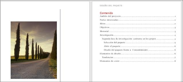 Una portada y una tabla de contenido