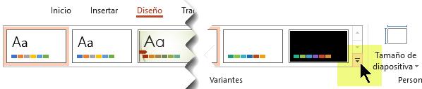 Seleccione la flecha abajo que abre la galería de variantes de color