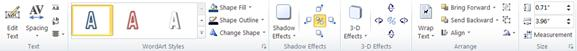 Pestaña herramientas de WordArt en Publisher 2010