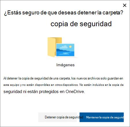 Captura de pantalla de al detener la protección de carpetas en OneDrive