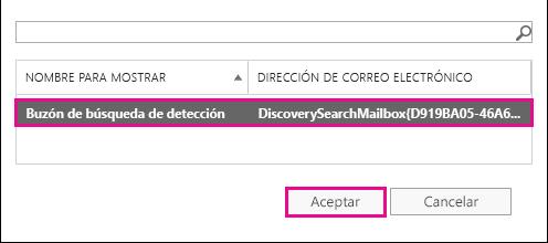 Copie los resultados de búsqueda en el Buzón de búsqueda de detección predeterminado
