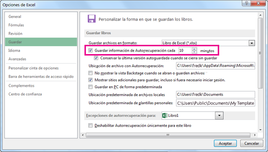 Opción Autorrecuperación en la pestaña Guardar del cuadro de diálogo Opciones de Excel