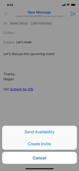 """Se muestra una pantalla de iOS con un borrador de correo electrónico atenuado y el botón """"Enviar disponibilidad"""" debajo del borrador."""