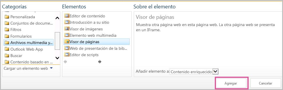 Agregar elemento web