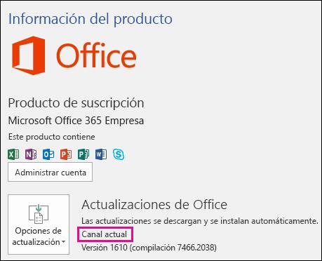 Información de la cuenta de producto para la suscripción de Canal actual de Office 365 Empresa