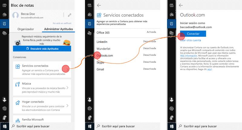Captura de pantalla con Cortana abierta en Windows 10 y el menú servicios conectados abierto.