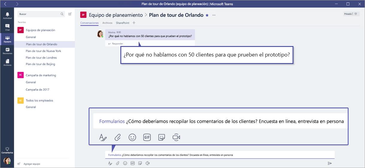 Formularios de Microsoft QuickPoll en equipos de Microsoft