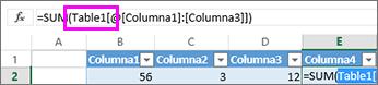 Nombre de la tabla aparece en las fórmulas