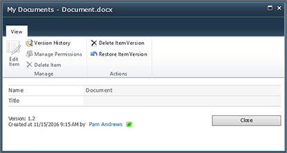 Cuadro de diálogo historial de versiones de SharePoint 2010