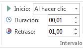 En el grupo Intervalos, establezca el inicio en Al hacer clic.