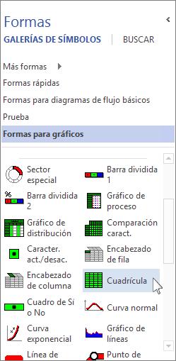 Galería de símbolos con formas para gráficos