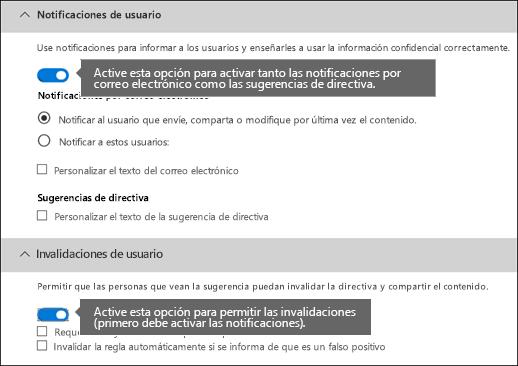 Secciones Notificaciones de usuario e Invalidaciones de usuario del editor de reglas DLP