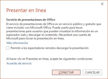 Muestra la opción Archivo > Compartir > Presentar en línea en PowerPoint