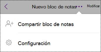 Botón configuración en blocs de notas en iPhone.