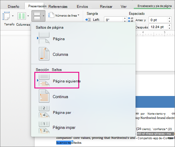 insertar pie de pagina en word mac
