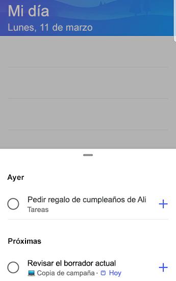 Captura de pantalla de to-do en Android con sugerencias abiertas y agrupadas por ayer y próximos.