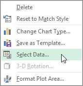 Menú contextual de haciendo clic en Seleccionar datos en el gráfico