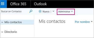 Una imagen del aspecto de la página Contactos en Outlook en la web