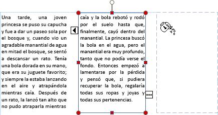 Captura de pantalla de un cuadro de texto con texto de desbordamiento listo para pasarse a otro cuadro de texto.