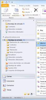 Panel de navegación de Outlook 2010