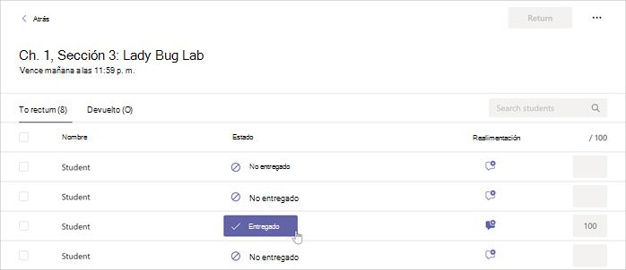 El cursor se mueve sobre el botón Entregado dentro de una tarea seleccionada en Microsoft Teams.