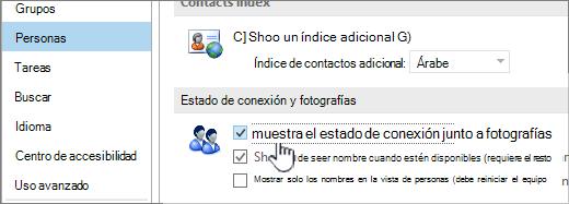 Ficha personas en el cuadro de diálogo de opciones con el estado de conexión de mostrar resaltado