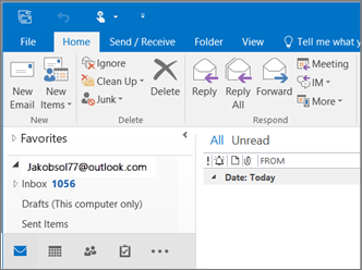 Una imagen de su apariencia cuando tenga una cuenta de Outlook.com en Outlook 2016.