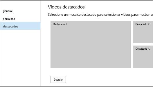 Página de configuración de canales de vídeo: destacados